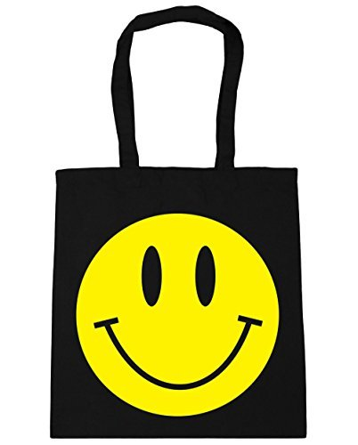 HippoWarehouse 42cm Bag Beach x38cm Black Tote Gym litres Shopping SMILEY 10 FACE q0xwAUY0r