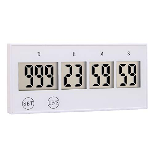 Zealforth Digital Count Up Down Timer - 999 Days Countdown Timer for Vacation Retirement Wedding New Baby (white) ()