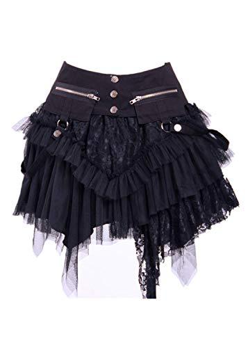 Steampunk Punk Gothic Retro Victorian Punk Cincher Lace up Long Ruffle Mini Skirt Black