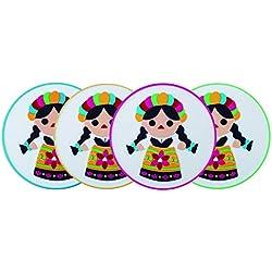 By Mexico Portavasos PVC Modelo Muñeca María colores set de 4