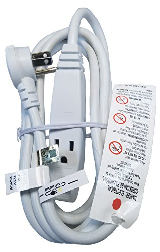 Barium Electric 10 Ft Extension Cord Angled Plug White 10 Foot | 3 Outlets | 16 AWG | 1625 Watt | 13 Amp | 120 Volt - Electronics, Appliances, Power Tools - 3 prong, 16 gauge, w/ ground, 110-125V (Electric Appliance Cords)