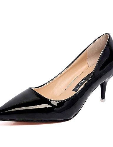GGX/ Damen-High Heels-Hochzeit / Büro / Lässig-Kunstleder-Stöckelabsatz-Absätze / Spitzschuh-Schwarz / Rosa / Silber black-us7.5 / eu38 / uk5.5 / cn38