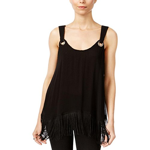 - Free People Womens Fringe Textured Casual Top Black M