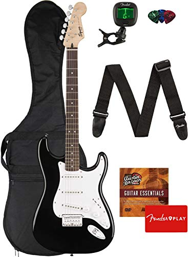 Fender Squier Bullet Stratocaster Hard Tail Guitar – Laurel Fingerboard, Black Bundle with Gig Bag, Tuner, Strap, Picks, and Austin Bazaar Instructional DVD
