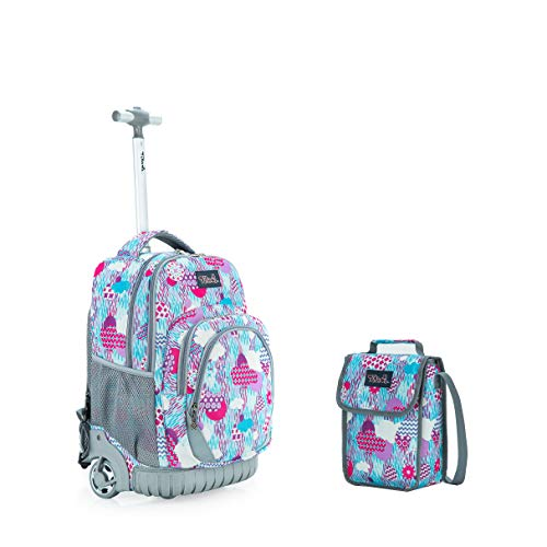 Tilami New Antifouling Design 18 Inch Wheeled Rolling Backpack Luggage & Lunch Bag,Rainy Day -