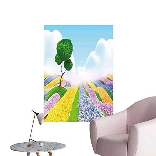 Wall Art Prints Cartoon Like Image with Clouds Fields with Flowers Trees Colored Scene Print Multicolor for Living Room Ready to Stick on Wall,28