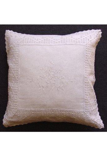 Kissenhülle 40//40 cm KH weiß Stickerei mit Häkelspitze