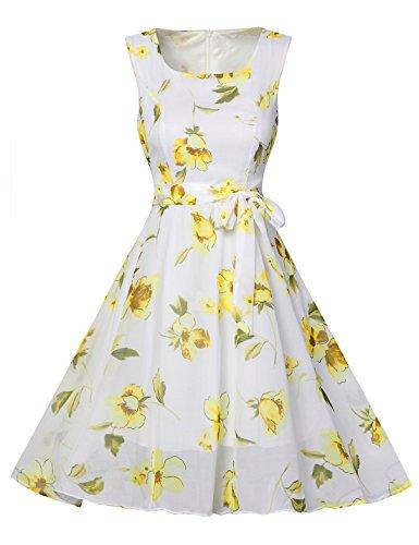 FEOYA Women's Summer Print Neck Swing Chiffon Dress
