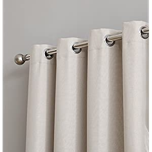 """HLC.ME Textured 100% Blackout Room Darkening Thermal Insulated Curtain Grommet Panel for Sliding Glass Patio Door - Energy Efficient, Complete Darkness, Noise Reducing (100"""" W x 84"""" L, Beige)"""