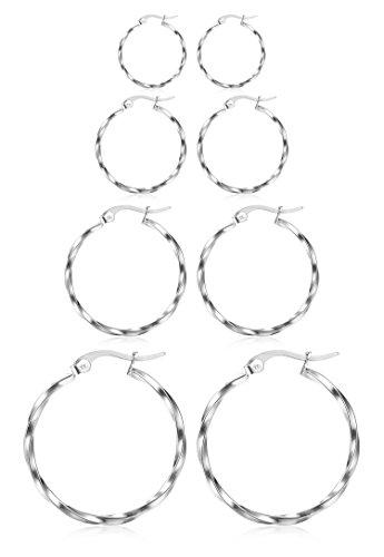 - ORAZIO 4 Pairs Stainless Steel Hoop Earrings Set Twist Round Huggie Earrings for Women,10mm-20mm