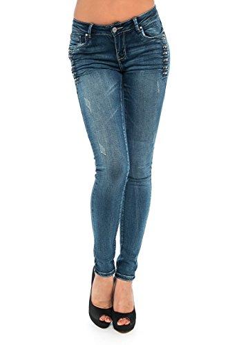L1739 Damen Skinny Jeans Strech Hose Röhrenjeans Damenjeans Stechjeans Hüfthose