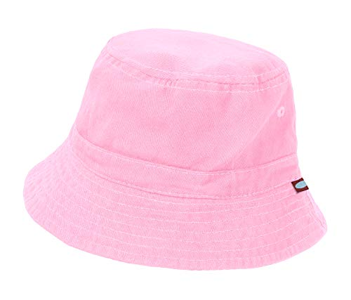 - City Threads Unisex Baby Solid Wharf Hat Bucket Hat for Sun Protection SPF Beach Summer - Pink - S(0-6M)