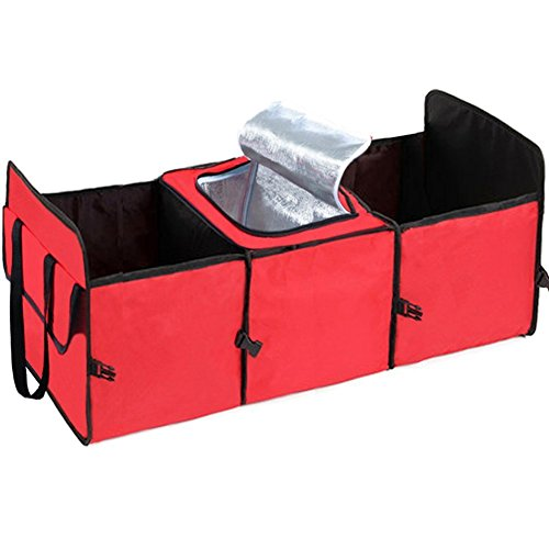 Carclean Multipurpose Car Suv Trunk Organizer Car Storage Box   Best Heavy Duty Construction   Great For Car Suv Truck Jeep Minivan Home   Durable Collapsible Cargo Storage  Red