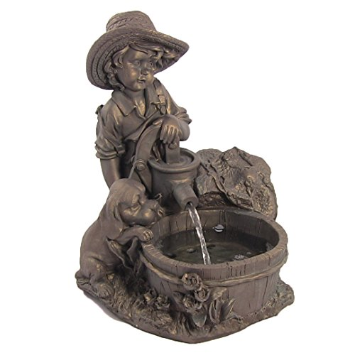 Sunnydaze Boy with Dog Solar Power Water Fountain with LED Light, 15.5 Inch (His Boy Garden Fountain)