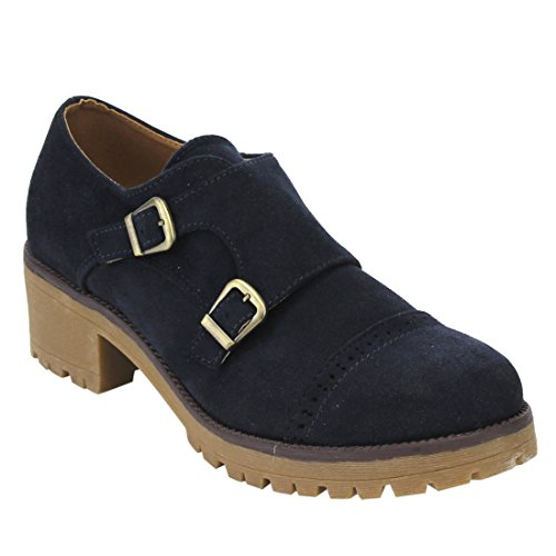 BESTON EJ61 Womens Chunky Heels Faux Suede Perforated Oxford Dress Boots  With Buckle Strap Color Navy