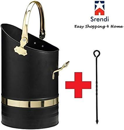 Brass Handle Bucket Only Srendi/® Black Brass Handles Coal Bucket Hod Heavy Duty Scuttle Fireside Fireplace Size Large16 Inches