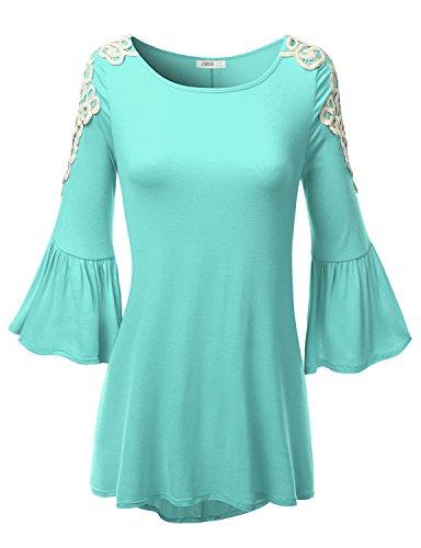 SJSP Women 3/4 Sleeve Color Blocked Chrochet Detailed Yoga Wear MINT Tunic Top,Large,L