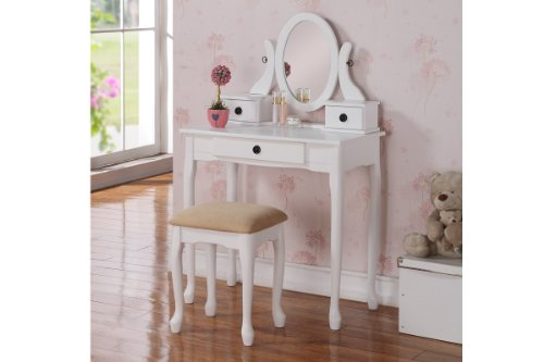 Vanity Set with Stool in White by Poundex