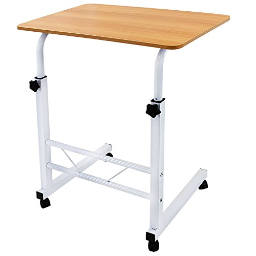 Met Life   Adjustable Height Laptop Desktop Table Stand  Over Bed Side Table With Wheels   Metal Frame   Natural Surface