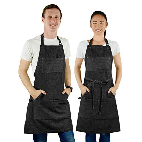 MultiExpression Chef Apron Black - Denim Apron for Men Unisex BBQ Aprons for Men 7 Utility Pockets Kitchen Apron Bartender Apron Mens Apron Chefs Apron Gifts Apron for Men Women Adjustable S to XXL