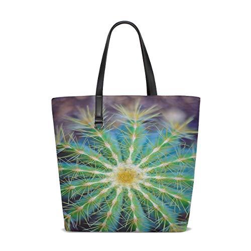 (JTMOVING Women Cactus Green Macro Plant Cactaceae Cacti Potted Handle Satchel Handbags Shoulder Bag Tote Purse Messenger Bags )