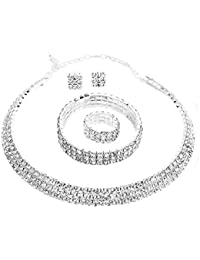 Crystal Rhinestone Choker Necklace Earrings Bracelet Ring...
