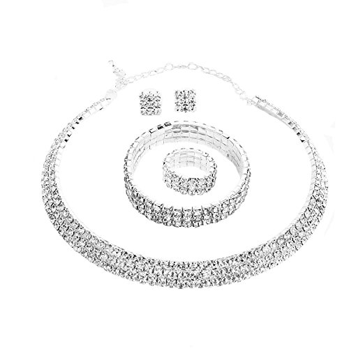 Party Necklace Set (Santfe Crystal Rhinestone Choker Necklace Earrings Bracelet Ring Jewelry Set for Wedding Bridal Prom Party (White))