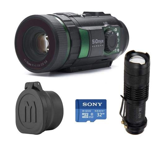 SiOnyx Aurora IR Night Vision Camera - Bundle with 32GB MIcroSDHC U3 Card, WindFire Mini IR Zoomable 5W 850nm LED Flashligh, Monstrum Tactical Rubberized Lens Covers (Color Vision Mini Night)