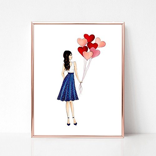 Unframed Girl and her Hearts Fashion Illustration Art Print