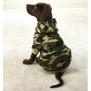 Camo Hooded Dog Sweatshirt - Small Green by Fashion Pet