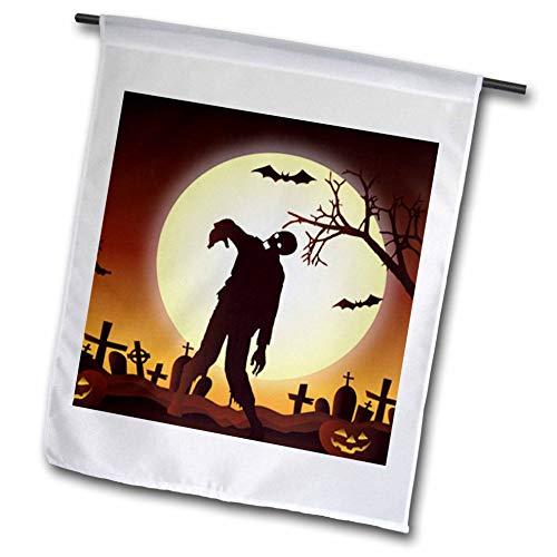 3dRose Sven Herkenrath Celebration - Happy Halloween with Zombie for Celebration Season - 12 x 18 inch Garden Flag (fl_294687_1)