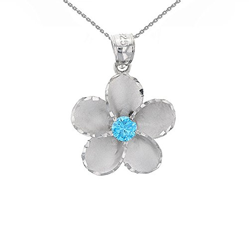 Dazzling Sterling Silver Blue CZ Hawaiian Plumeria Flower Pendant Necklace, 18