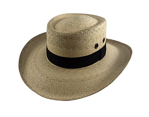 Palmoro The Original Golf Gambler Moreno Palm Straw Sun Hat (2XL, Natural w/Black Band) -
