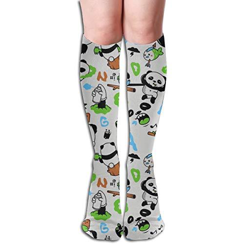 YangAme Panda Playing The Flute 50 Full Comfort Knee High Socks Cotton Long Knee High Socks