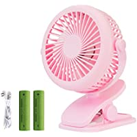 Beautys 101 Sbeauty Portable Clip on Fan Powered by USB or 2200mAh Rechargeable Battery 360 Adjustable 3 Speeds Wind for Dormitory, Office, Car, Baby Stroller and Outdoor (Pink)