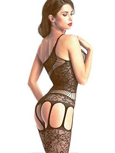 Amoretu Women Lace Tights Crotchless Lingerie Suspender Fishnet Bodystocking Black