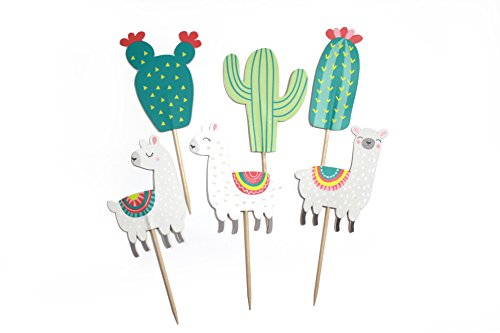 Llama and Cactus - Cupcake Toppers | Party Picks | Baby Shower, Birthday Party Decor | Llama Themed Party Supply by Merrilulu (Image #1)