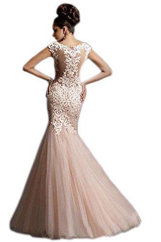 Angeschnittene Hochzeit Lachsfarben Tüll Applikation Mantel Kleid Mermaid Ärmel engerla Spitze Damen v0Wg8vSE