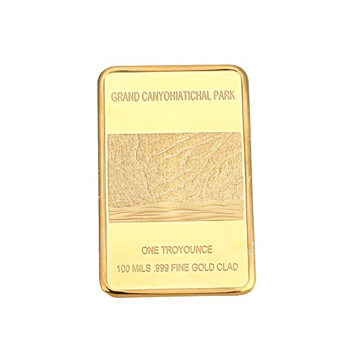 XIAOMU Souvenir Coin Grand Canyon National Park Zinc Alloy 24K Gold-Plated Bullion Bar Home Gold Commemorative Coin Square Ornaments ()
