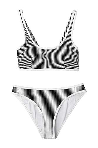 CUPSHE Women's Black and White Stripe Tank Back Tie Bikini ()