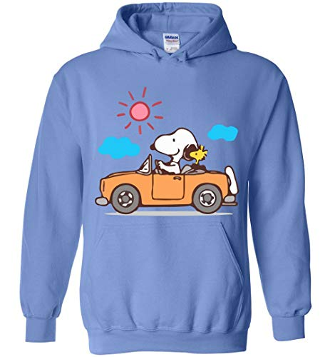 Driving Funny Hoodie Snoopy and Woodstock Carolina Blue ()