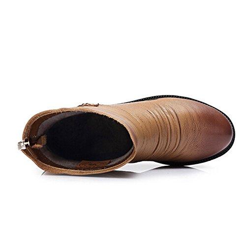 Kamel Kvinners Mid Hæl Ankel Boots Farge Aprikos Størrelse 37 M Eu