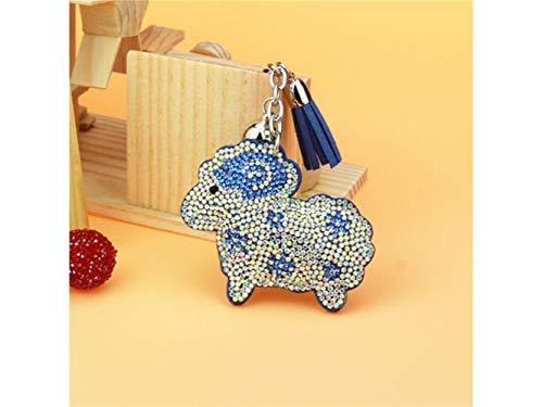 Wetietir Fashion Rhinestone Chinese Zodiac Little Sheep Pu Leather Keyring Charms Bag Purse Phone Pendant for Women Girls_Blue Pendant Chinese Sheep Zodiac Pendant