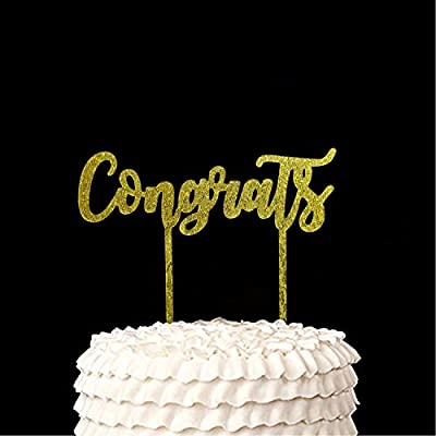 Amazon.com: Oro Congrats tarta | Acrílico graduación de ...