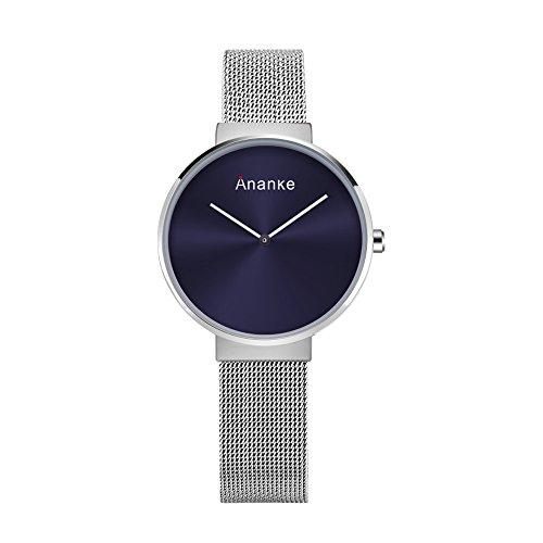 Ananke Women Silver Minilaist Quartz Wrist Watch Waterproof with Stainless Steel Mesh Bracelet Blue Analog Dial by ANANKE