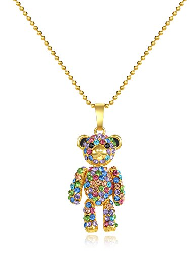 Gifts for Daughter Teddy Bear Pendant Necklace Jewelry Crystals Anniversary Gift for Women Girlfriend Wife Granddaughter Twenties Girls Unique Valentine's Day Gifts For Her Birthday Gifts For Teens (Pave Teddy)