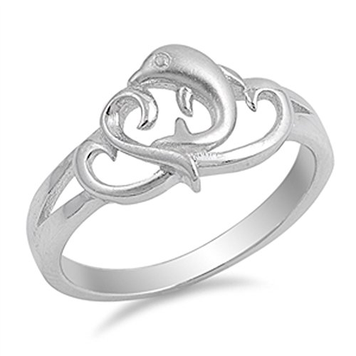 Dolphin Heart Ocean Animal Filigree Ring New 925 Sterling Silver Band Size 9 ()
