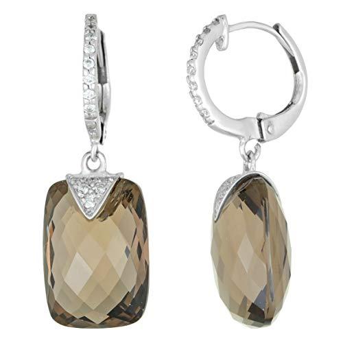 Lavari - 14x10 Elongated Cushion Smoky Quartz and .07 cttw Diamonds 18K White Gold Dangling Earrings
