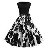 Women Vintage 1950s Retro Hepburn Dress Rockabilly Prom Dresses Cap-Sleeve Cocktail Party Swing Dress (M, White)