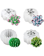 4Pcs Succulent Molds, 3D Cactus Plants Silicone Molds for Resin, Handmade Candle, Wax, Soap, Clay, Cake Decorating, Fondant, Chocolate